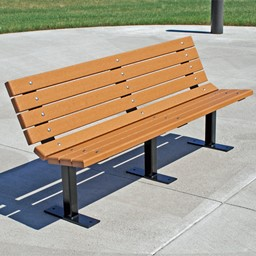 Contour Recycled Plastic Outdoor Bench - Surface Mount (6' L)