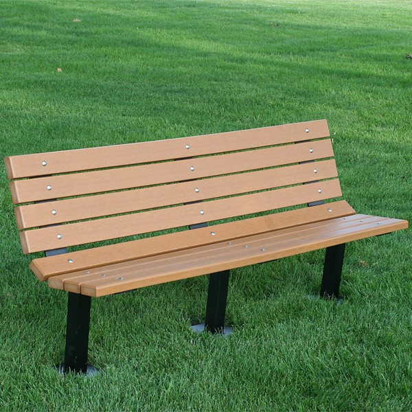 Contour Recycled Plastic Outdoor Bench - Inground Mount (6' L)
