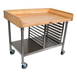 "1 3/4"" Maple Top Work Table w/ Stainless Steel Shelf & Bun Pan Rack"