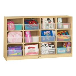 Baltic Birch 12-Cubby Storage Unit w/ Clear Trays - Accessories not included