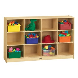Baltic Birch 12-Cubby Storage Unit w/ Colorful Trays - Accessories not included