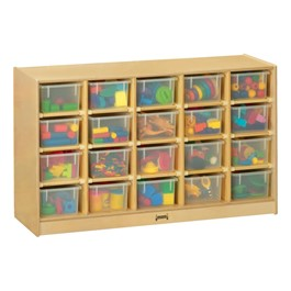 Baltic Birch 20-Cubby Mobile Storage Unit w/ Clear Trays - Accessories not included