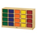 Baltic Birch 20-Cubby Mobile Storage Unit w/ Colorful Trays - Shown w/ assorted trays