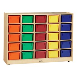 Baltic Birch 25-Cubby Mobile Storage Unit w/ Colorful Trays