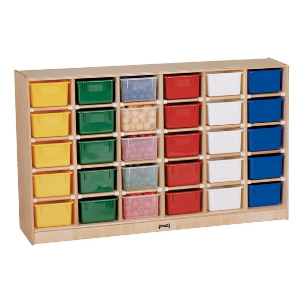 Baltic Birch 30-Cubby Mobile Storage Unit w/ Colorful Trays