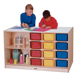 Mobile Storage Island w/ Colorful Trays - Accessories not included