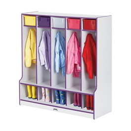Rainbow Accents Open Five-Section Locker w/ Step - Purple - Accessories not included