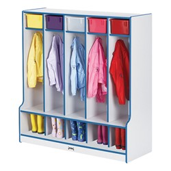 Rainbow Accents Open Five-Section Locker w/ Step - Blue - Accessories not included