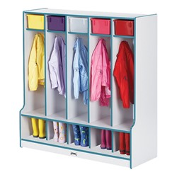 Rainbow Accents Open Five-Section Locker w/ Step - Teal - Accessories not included