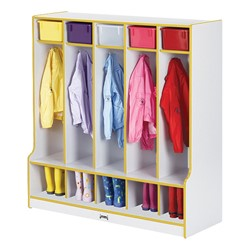 Rainbow Accents Open Five-Section Locker w/ Step - Yellow - Accessories not included