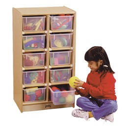 Baltic Birch 10-Cubby Mobile Storage Unit w/ Clear Trays