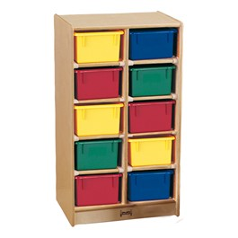 Baltic Birch 10-Cubby Mobile Storage Unit w/ Colorful Trays