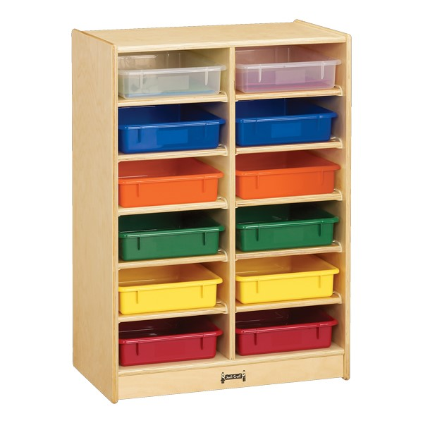 Baltic Birch Paper Tray Cubby Unit - 12 Cubbies w/ Colorful Trays