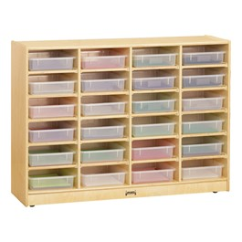 Baltic Birch Paper Tray Cubby Unit - 24 Cubbies w/ Clear Trays