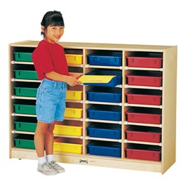 Baltic Birch Paper Tray Cubby Unit - 24 Cubbies w/ Colorful Trays