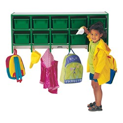 Rainbow Accents Wall-Mount Coat Rack w/ Cubby Trays - Green - Accessories not included