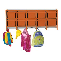 Rainbow Accents Wall-Mount Coat Rack w/o Cubby Trays - Orange - Cubby trays & accessories not included