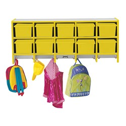 Rainbow Accents Wall-Mount Coat Rack w/o Cubby Trays - Yellow - Cubby trays & accessories not included
