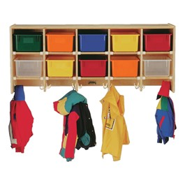 Baltic Birch Large Wall-Mount Coat Rack - Shown w/ colorful cubby trays