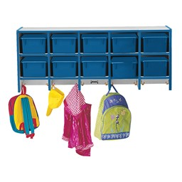 Rainbow Accents Wall-Mount Coat Rack w/ Cubby Trays - Blue - Accessories not included