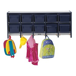 Rainbow Accents Wall-Mount Coat Rack w/ Cubby Trays - Navy - Accessories not included