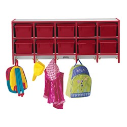 Rainbow Accents Wall-Mount Coat Rack w/ Cubby Trays - Red - Accessories not included