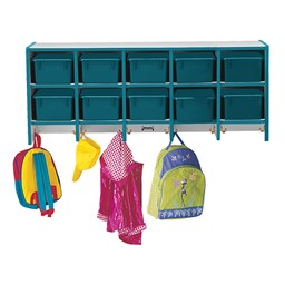 Rainbow Accents Wall-Mount Coat Rack w/ Cubby Trays - Teal - Accessories not included