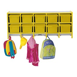 Rainbow Accents Wall-Mount Coat Rack w/ Cubby Trays - Yellow - Accessories not included