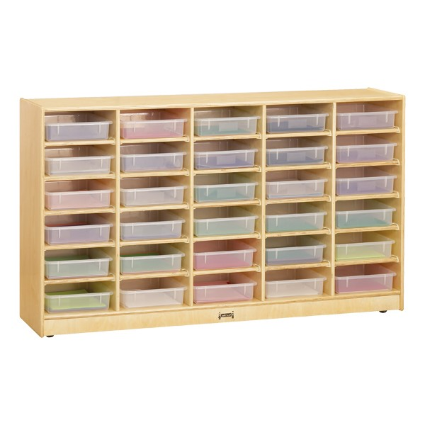 Baltic Birch Paper Tray Cubby Unit - 30 Cubbies w/ Clear Trays