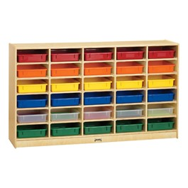 Baltic Birch Paper Tray Cubby Unit - 30 Cubbies w/ Colorful Trays