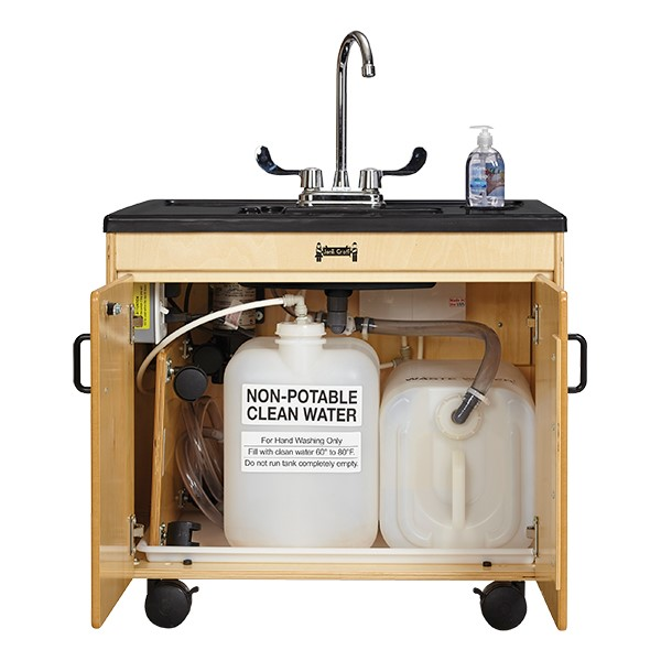 "Clean Hands Helper Portable Sink - 26"" Counter w/ Plastic Sink - Interior"