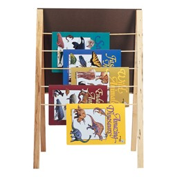 Hang books on the five dowels on back