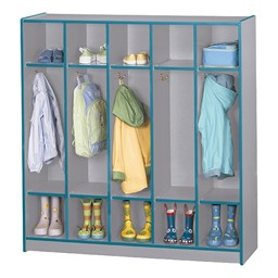 Rainbow Accents Open Five-Section Locker w/o Step - Teal - Accessories not included
