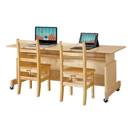 Apollo Double Computer Desk - Maple Top
