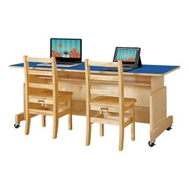 Apollo Double Computer Desk - Blue Top
