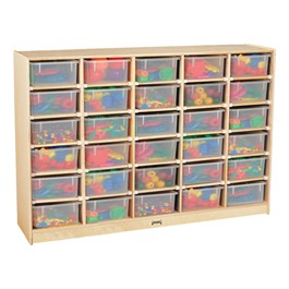 Baltic Birch 30-Cubby Single Storage Unit w/ Clear Trays - Accessories not included