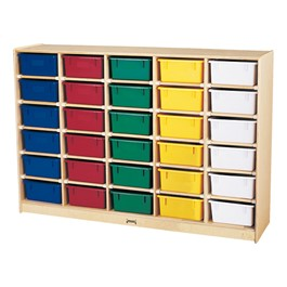 Baltic Birch 30-Cubby Single Storage Unit w/ Colorful Trays
