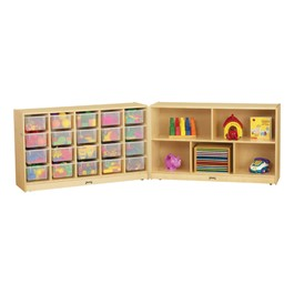 Baltic Birch Fold-n-Lock Storage Unit w/ 20 Cubbies & Clear Trays - Supplies not included
