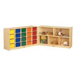 Baltic Birch Fold-n-Lock Storage Unit w/ 20 Cubbies & Colorful Trays - Accessories not included