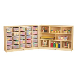 Baltic Birch Fold-n-Lock Storage Unit w/ 25 Cubbies & Clear Trays - Supplies not included