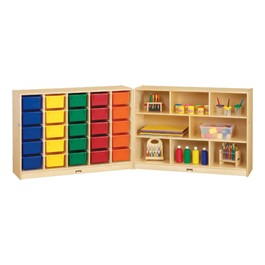 Baltic Birch Fold-n-Lock Storage Unit w/ 25 Cubbies & Colorful Trays - Accessories not included
