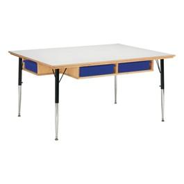 """Baltic Birch Activity Table w/ Storage w/ Colorful Trays (36\"""" W x 48\"""" L)"""