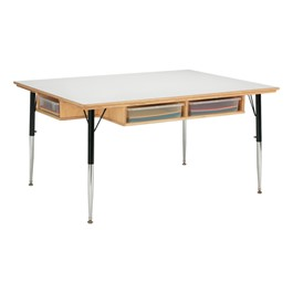 "Baltic Birch Activity Table w/ Storage w/out Trays (36"" W x 48\"" L) - Trays not included"
