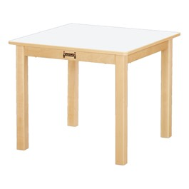 "Square Baltic Birch Activity Table (24"" W x 24\"" L) - White Top"