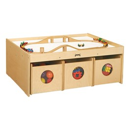 "Baltic Birch Activity Table w/ Six Bins (34"" W x 44\"" L x 17 1/2\"" H) - Accessories not included"