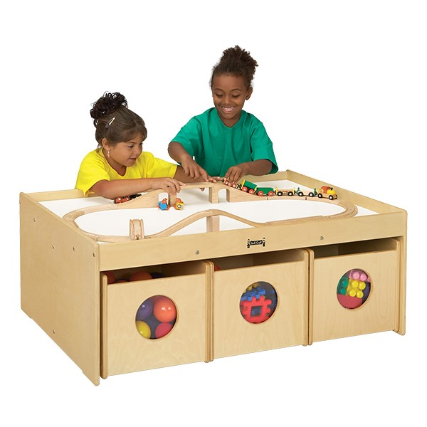 "Baltic Birch Activity Table w/ Six Bins (34"" W x 44"" L x 17 1/2"" H) - Accessories not included"