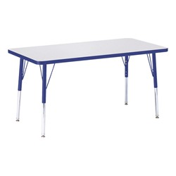 "Rectangle Rainbow Accents Activity Table (24"" W x 48"" L) - Blue edge band, legs & swivel glides"