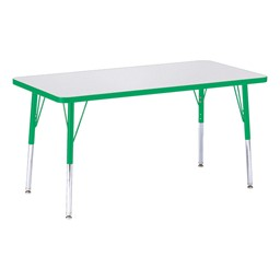 """Rectangle Rainbow Accents Activity Table (24"""" W x 48"""" L) - Green edge band, legs & swivel glides"""