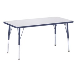 "Rectangle Rainbow Accents Activity Table (24"" W x 48"" L) - Navy edge band, legs & swivel glides"