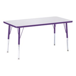 "Rectangle Rainbow Accents Activity Table (24"" W x 48"" L) - Purple edge band, legs & swivel glides"
